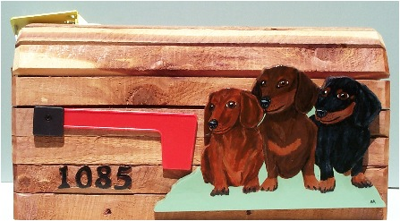 Cedar Mailbox with 3 dachshunds